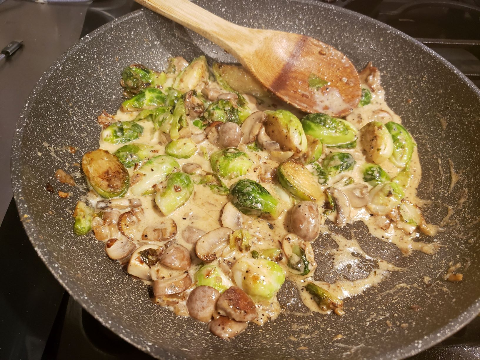 Bacon Mushroom Brussels Sprouts, Oh My!