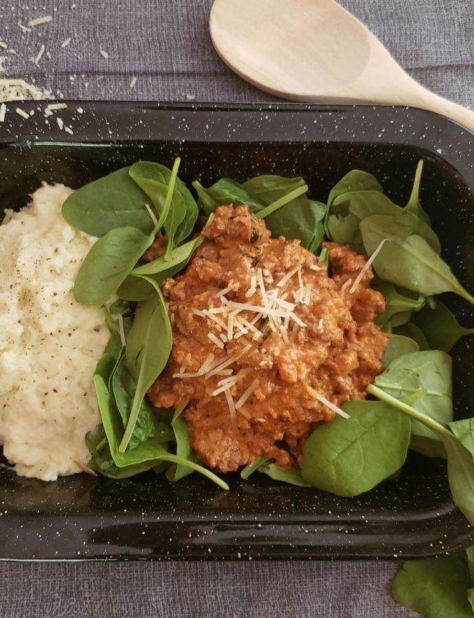30 Minute Italian Meat Sauce w/Mashed Cauliflower