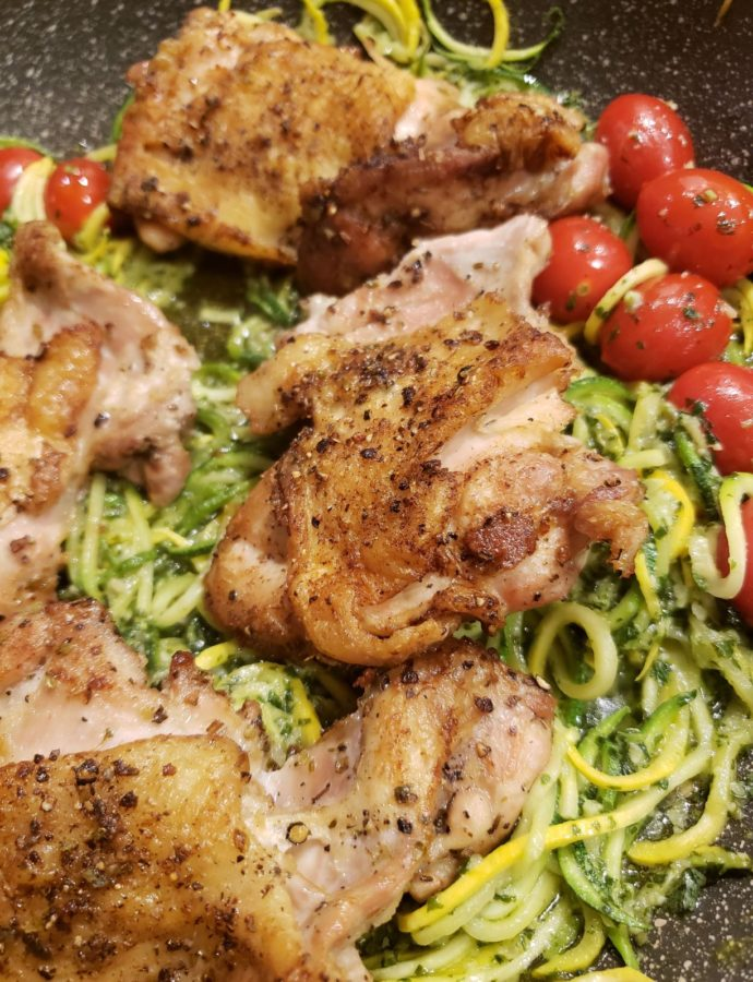 Roasted Chicken Thighs with Zoodle Pesto