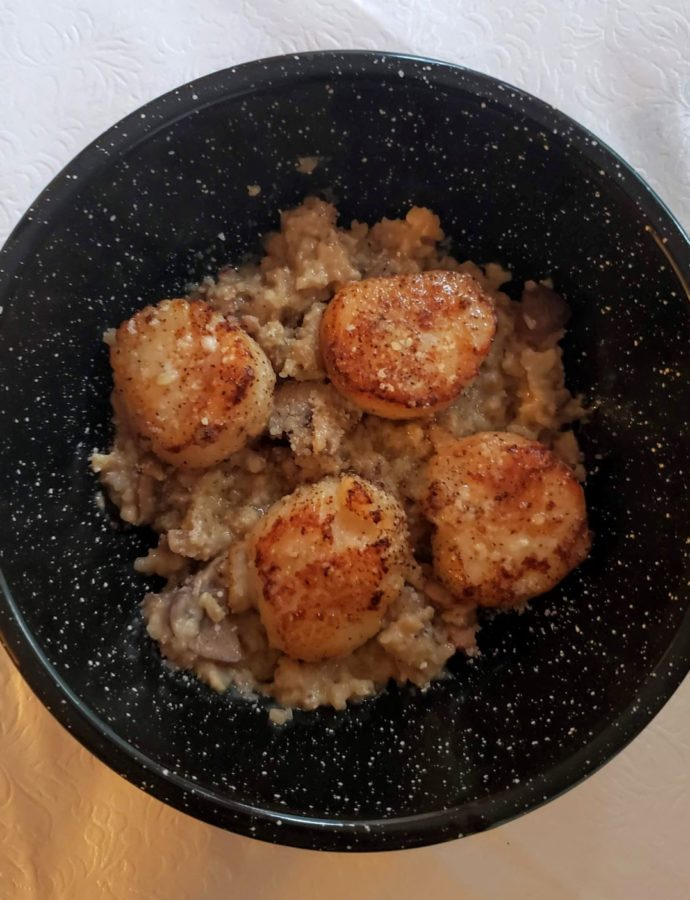 Seared Scallops Over Mushroom Cauliflower Risotto